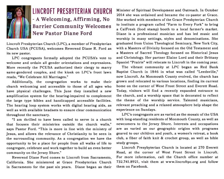 Community Magazine article about our Pastor Diane R. Ford